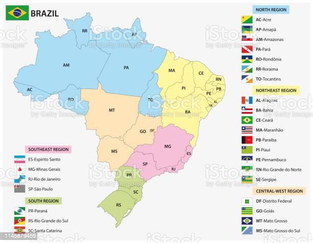 Vetores de Mapa Dos Estados Brasileiros Com Bandeiras e mais imagens de Bandeira