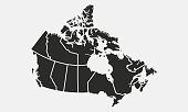 Map of the Canada with provinces and territories isolated on a white background. Vector illustration