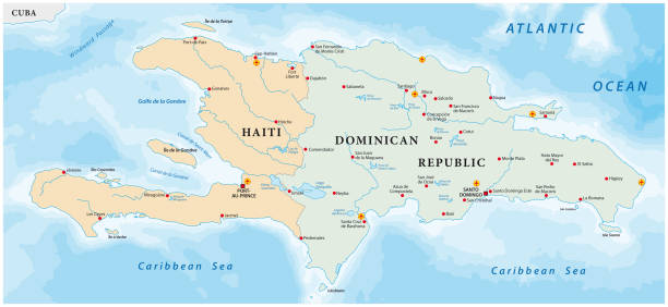 map of the Caribbean island of Hispaniola map of the Caribbean island of Hispaniolavector haiti stock illustrations