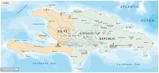 Map Of The Caribbean Island Of Hispaniola Stock Vector Art More