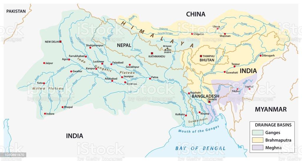 Rio Ganges Mapa Fisico.Vetores De Mapa Das Bacias Combinada Dos Rios Ganges