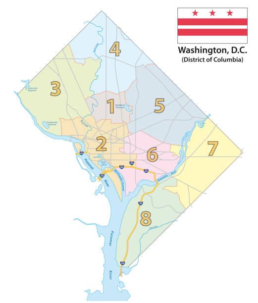 ilustraciones, imágenes clip art, dibujos animados e iconos de stock de mapa de los ocho distritos de washington dc con bandera - zona urbana
