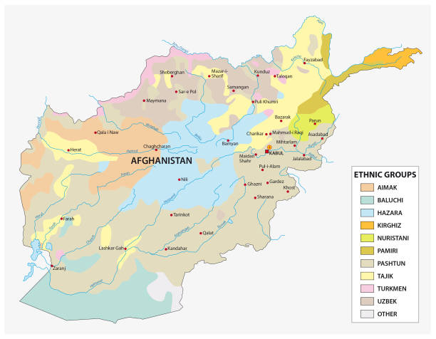 ilustraciones, imágenes clip art, dibujos animados e iconos de stock de mapa de los grupos étnicos en afganistán - mapa de oriente medio