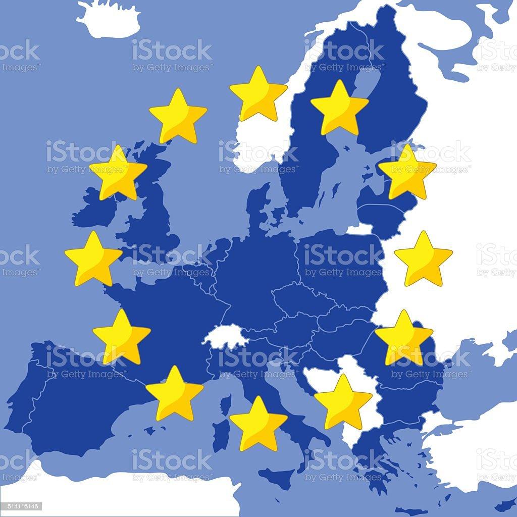 Map of the European Union vector art illustration