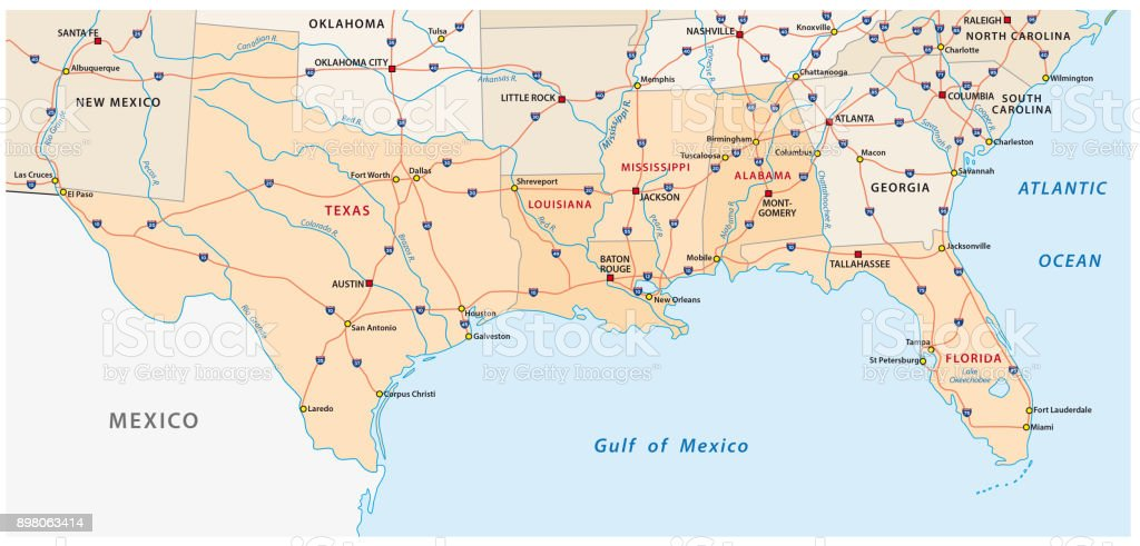 Map Of The Five Us States On The Gulf Of Mexico Stock ...
