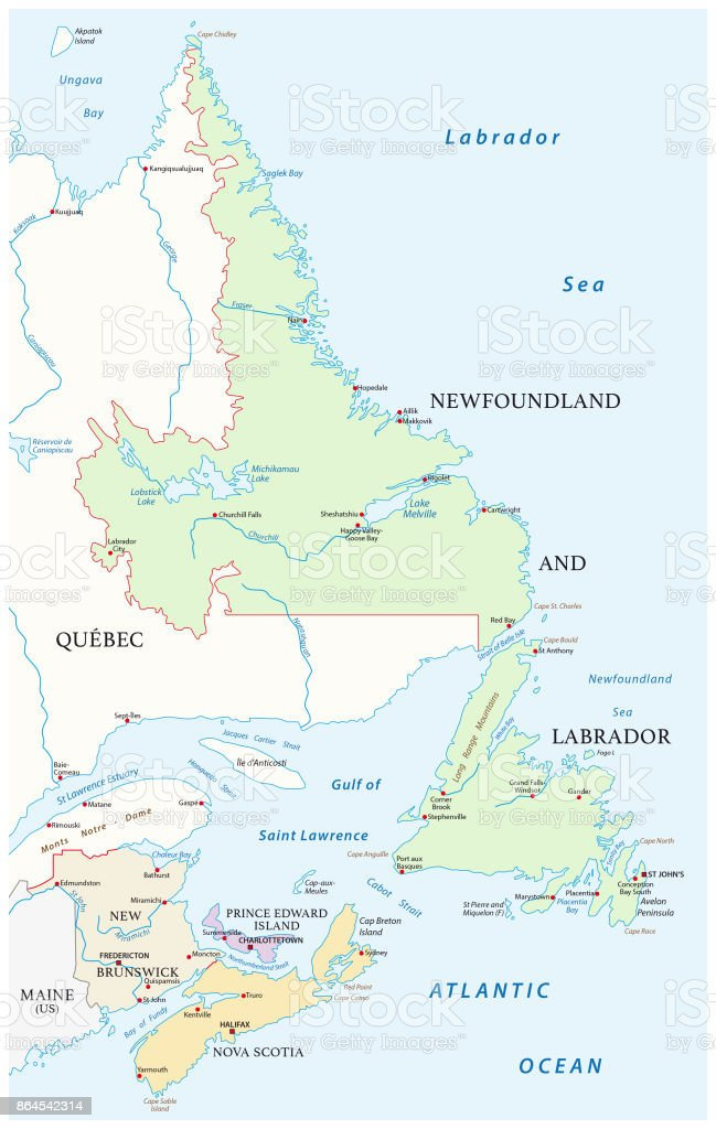 Map Of The Four Canada Atlantic Provinces Stock Illustration ...