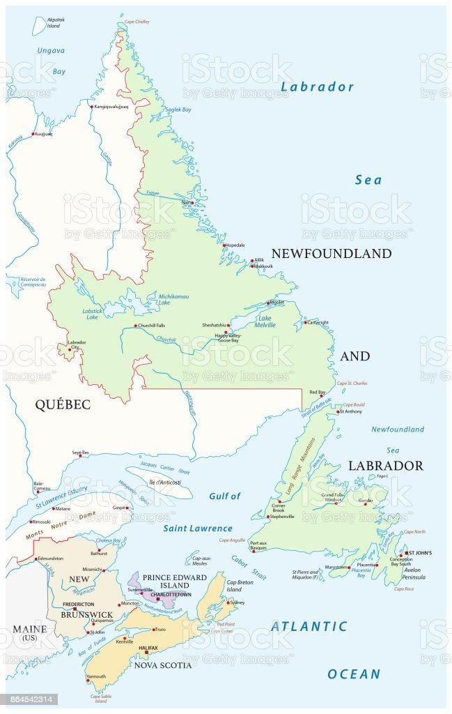 Map of the four canada atlantic provinces vector art illustration