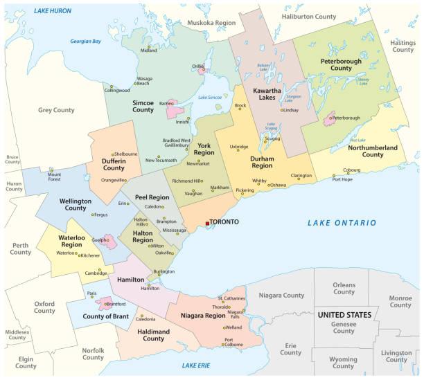 Map of the Golden Horseshoe metropolitan area around the western end of Lake Ontario, Ontario, Canada Map of the Golden Horseshoe metropolitan area around the western end of Lake Ontario, Ontario, Canada lakeshore stock illustrations