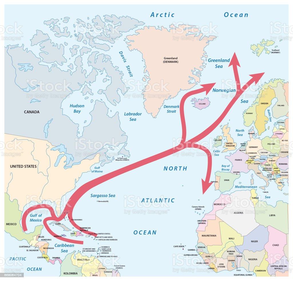 大西洋の湾および北大西洋のスト...