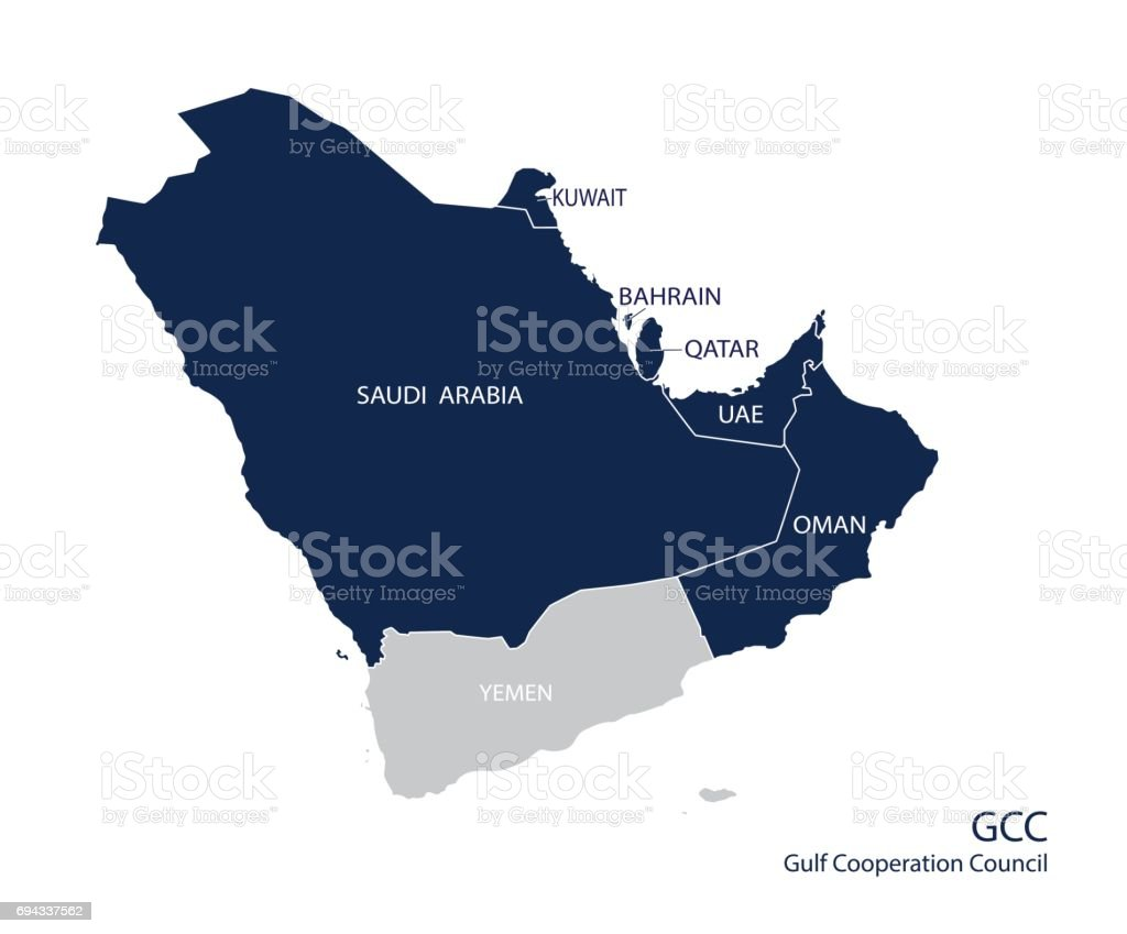 Map of the Gulf Cooperation Council (GCC)'s members. vector art illustration