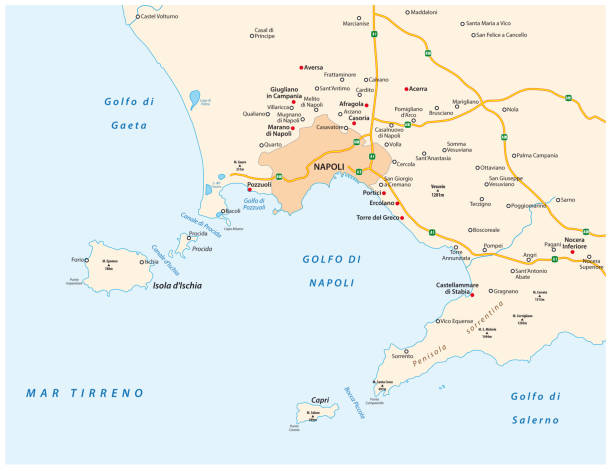 illustrazioni stock, clip art, cartoni animati e icone di tendenza di map of the gulf of naples in italian language - capri