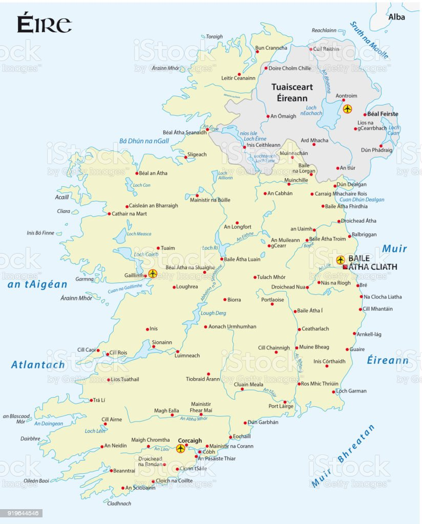 Map Of Ireland In Irish Language.Map Of The Irish Republic In Irish Gaelic Language Stock