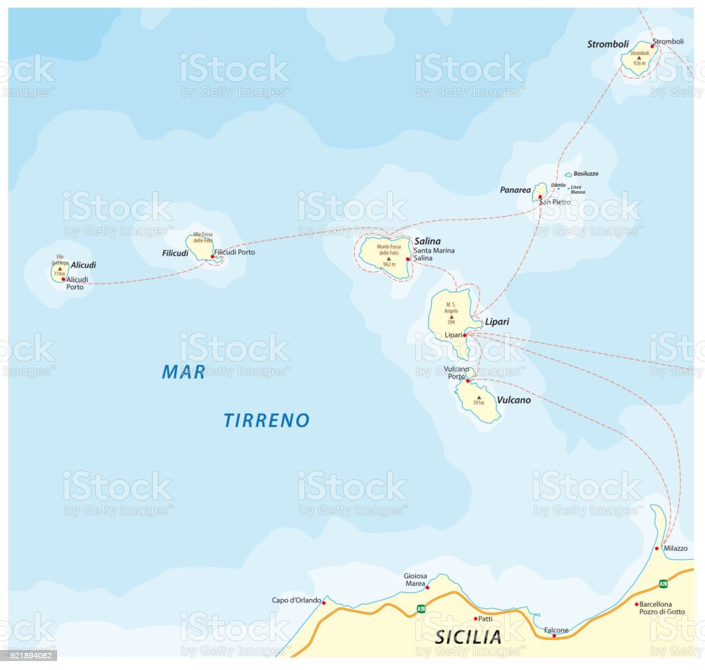 Map Of Italy And Islands.Map Of The Italian Island Group Aeolian Islands In The Tyrrhenian