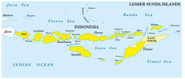 Map of the Lesser Sunda Islands in the Malay Archipelago Map of the Lesser Sunda Islands in the Malay Archipelago lagbok stock illustrations