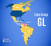 Map of the Lima Group (GL; Spanish and Portuguese: Grupo de Lima, French: Groupe de Lima)