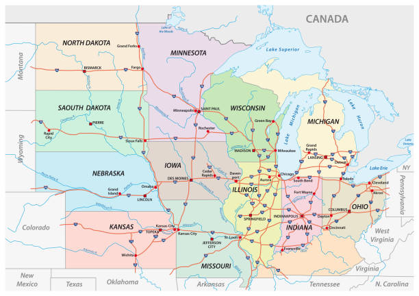 map of the midwest united states of america - missouri stock illustrations