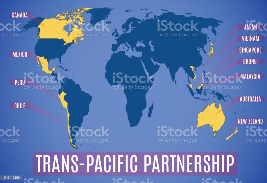 Map Of The New Transpacific Partnership After The Usa Stock Vector