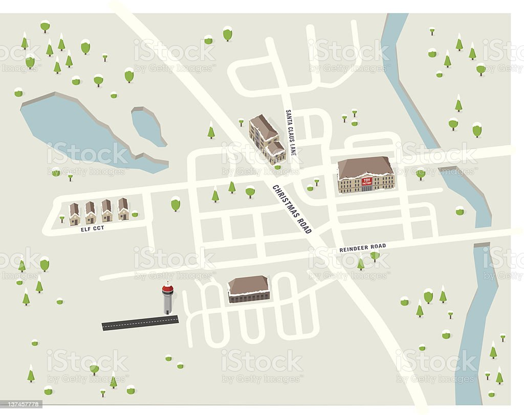 Map of the North Pole vector art illustration