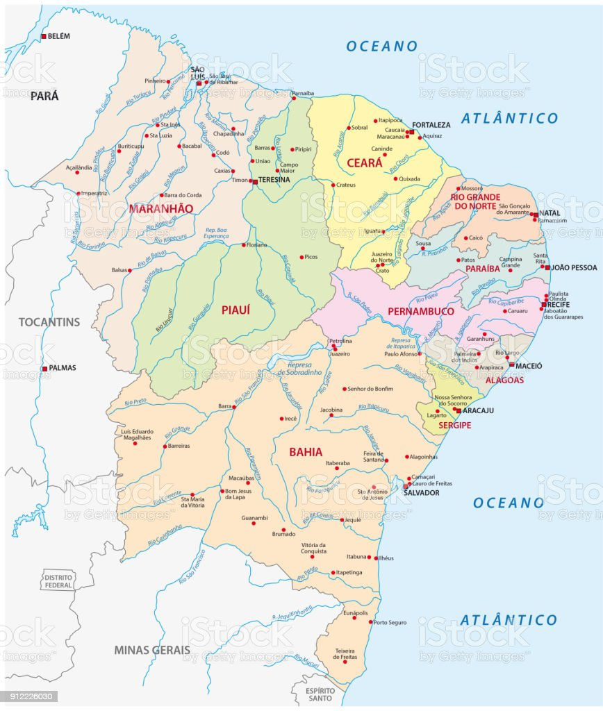 mapa da região nordeste, Brasil - ilustração de arte em vetor