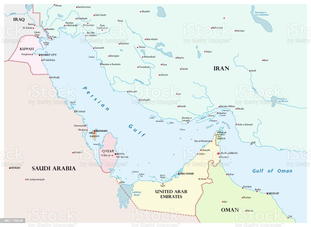 Map of the Persian Gulf and its neighboring countries vector art illustration