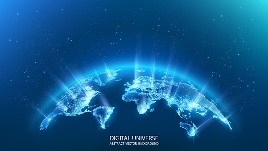 Map of the planet. Rays of energy.  World map. Global social network. Future. Vector. Blue futuristic background with planet Earth. Internet and technology. Floating blue plexus geometric background.
