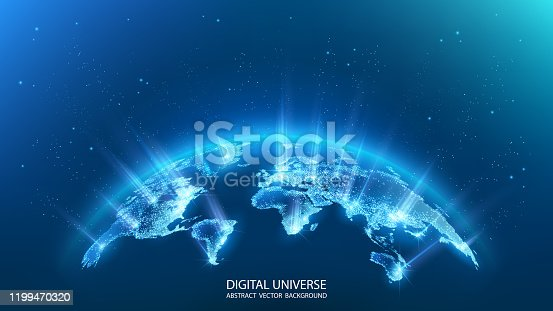 istock Map of the planet. Rays of energy.  World map. Global social network. Future. Vector. Blue futuristic background with planet Earth. Internet and technology. Floating blue plexus geometric background. 1199470320