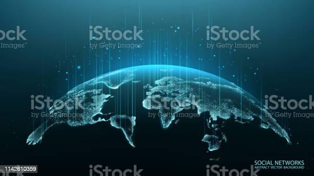 Karte Des Planeten Weltkarte Globales Soziales Netzwerk Zukunft Vektor Blauer Futuristischer Hintergrund Mit Dem Planeten Erde Internet Und Technik Stock Vektor Art und mehr Bilder von Abstrakt