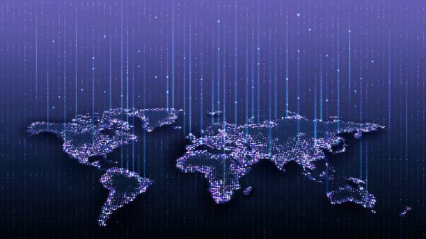 행성의 지도. 세계지도. 글로벌 소셜 네트워크. 미래. 벡터. 행성 지구와 블루 미래 지향적 인 배경. 인터넷 및 기술. 가상 현실과 현대 과학. - future stock illustrations
