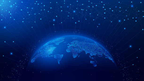 행성의 지도. 세계지도. 글로벌 소셜 네트워크. 미래. 벡터. 행성 지구와 블루 미래 지향적 인 배경. 인터넷 및 기술. - future stock illustrations