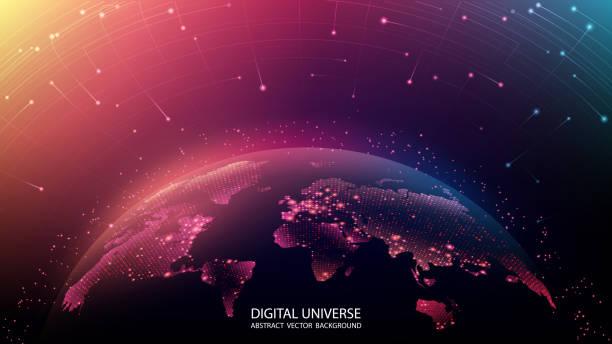 행성의지도. 세계 지도. 글로벌 소셜 네트워크. 미래. 벡터. 행성 지구와 미래의 배경. 인터넷과 기술. 추상 이미지입니다.  파란색 신경총 기하학적 배경부동. - future stock illustrations