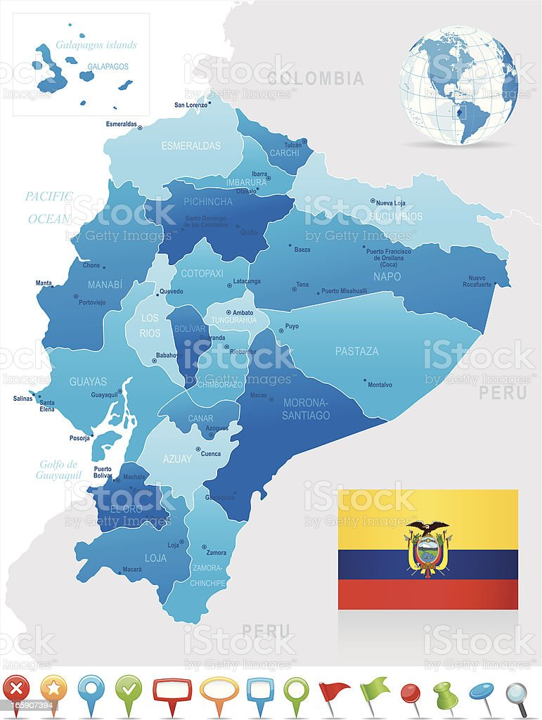 Map of the provinces of Equador in shades of blue with flag vector art illustration