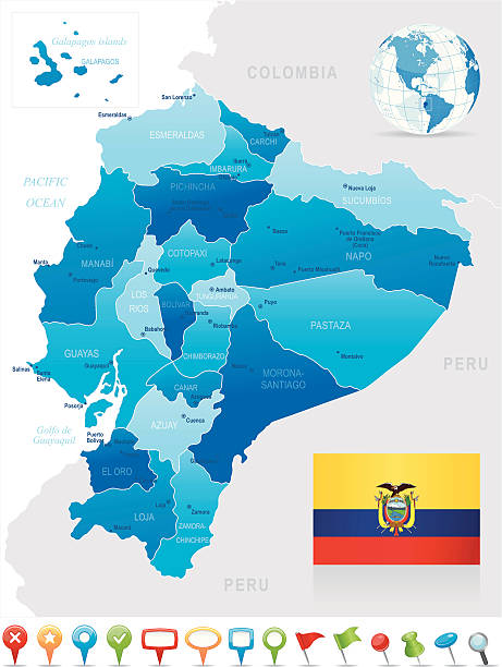 map of the provinces of equador in shades of blue with flag - ecuador flag stock illustrations