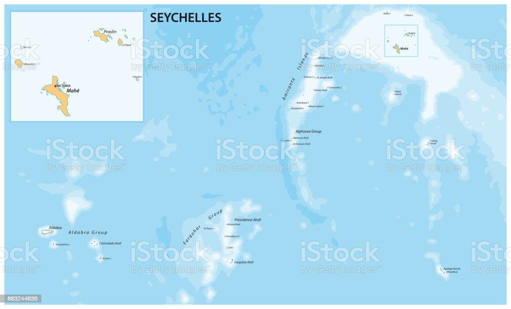 Ilustracion De Mapa De La Republica De Seychelles Y Mas