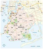 Map of the roads and neighborhoods of new york borough brooklyn