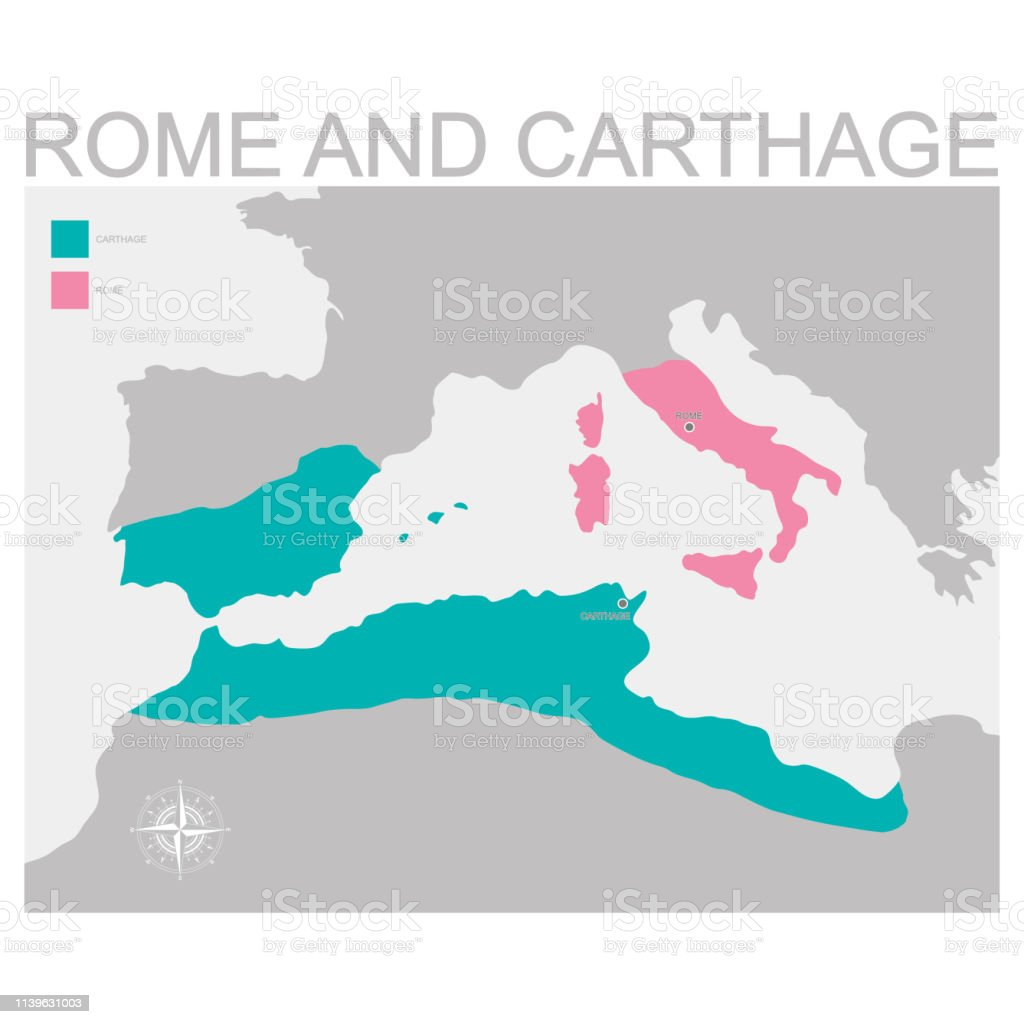Map Of The Rome And Carthage Territory Stock Illustration - Download Carthage Rome Map on