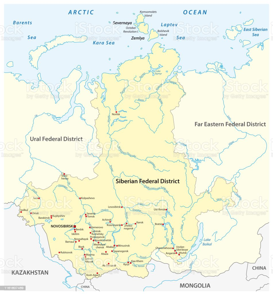 Image of: Map Of The Russian Siberian Federal District With Major Cities And Rivers Stock Illustration Download Image Now Istock