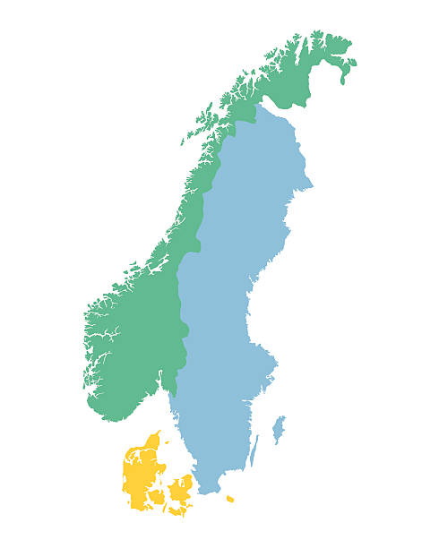 bildbanksillustrationer, clip art samt tecknat material och ikoner med map of the scandinavian countries - sweden map