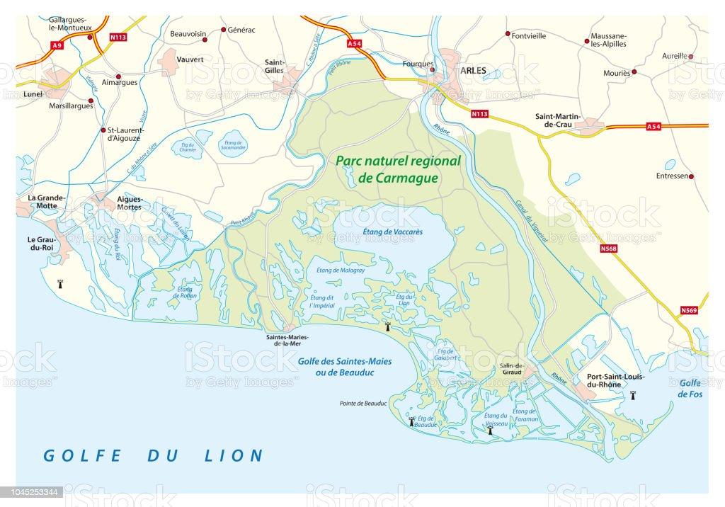 Camargue Karte.Karte Der Südlichen Französischen Regionalen Naturpark Camargue Frankreich Stock Vektor Art Und Mehr Bilder Von Arles