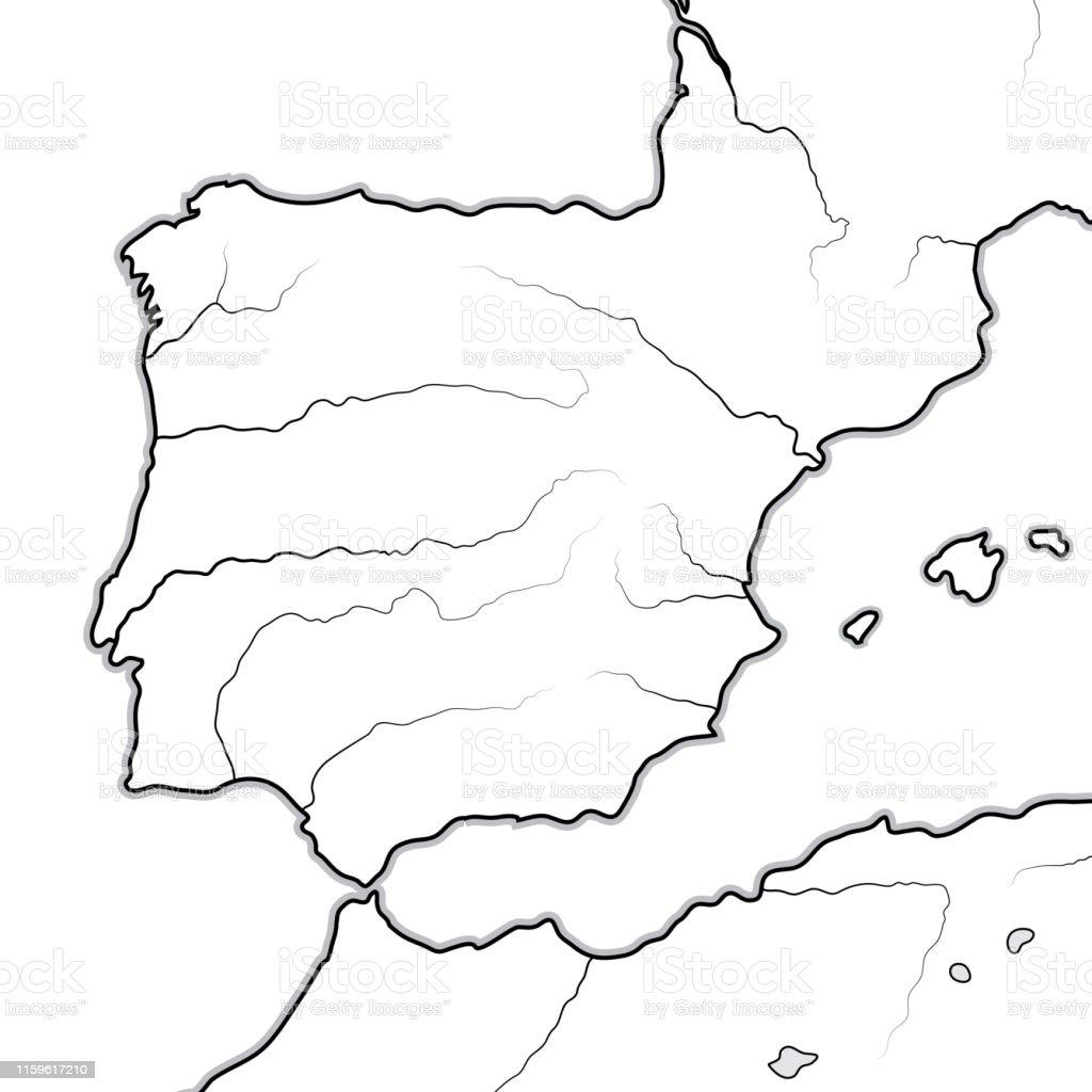 Carte Littoral Andalousie.Carte Des Terres Spanish Espagne Portugal Iberie Galice