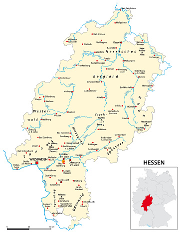 Map of the state of Hesse in German language