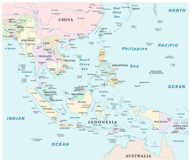 stockillustraties, clipart, cartoons en iconen met kaart van de staten van zuidoost-azië. - zuidoost azië