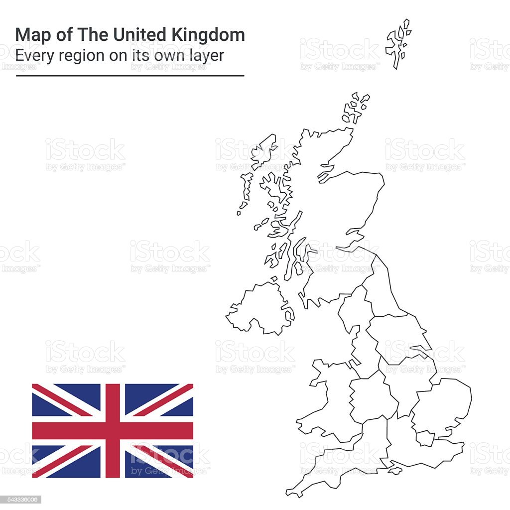 Map of The United Kingdom one region one layer vector art illustration