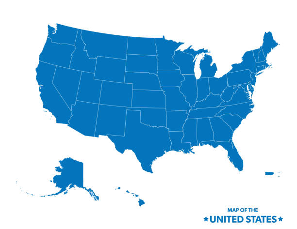 Map Of The United States In Blue vector art illustration
