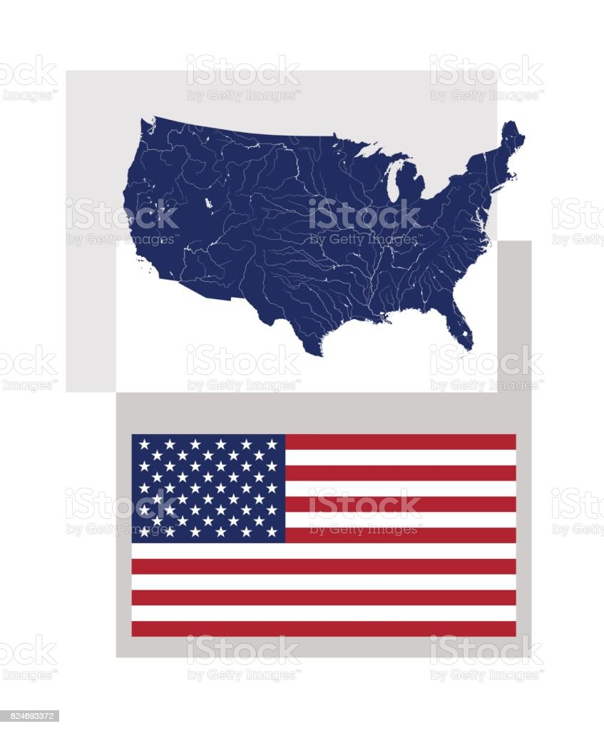 Map Of The United States Of America And American Flag Stock Vector - American-flag-us-map