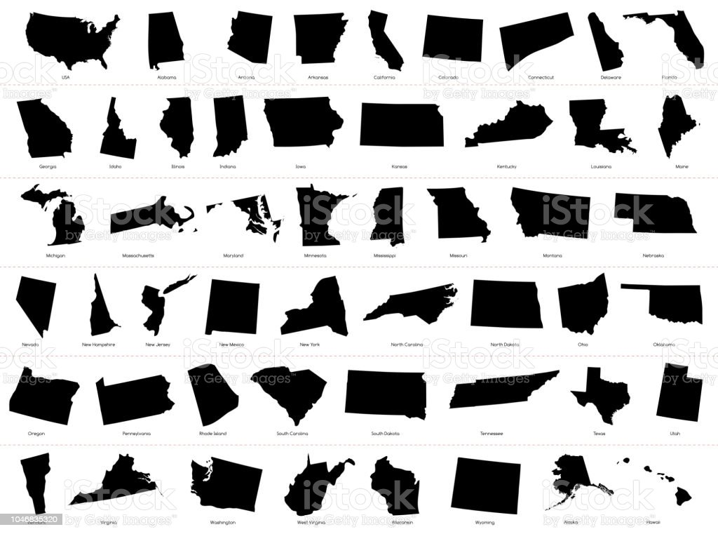 Map Of The United States Of America Divided States Maps Silhouette ...