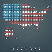Map of the United States of America - Dot design