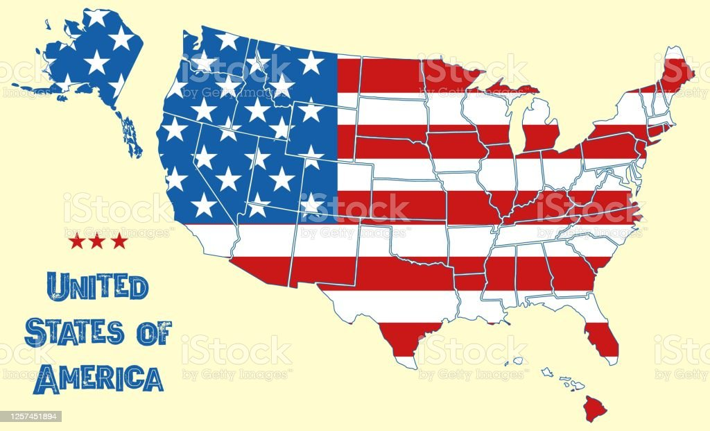 Image of: Map Of The United States Of America Flag Of Usa Throughout Territory With Borders Of All States Stars And Stripes On National Territory Geography Wallpaper Vector Background Stock Illustration Download Image