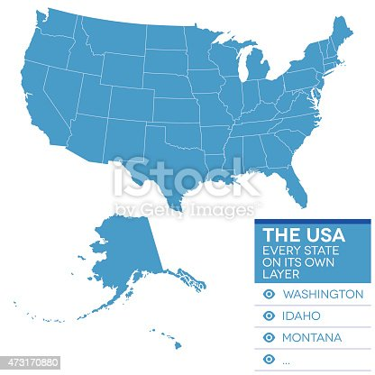Highly detailed map of the United States of America.