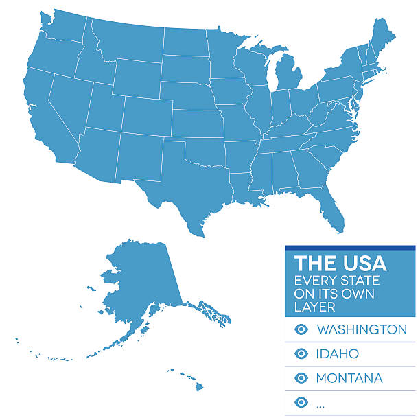 stockillustraties, clipart, cartoons en iconen met map of the united states of america in blue over white - digitaal samengesteld beeld