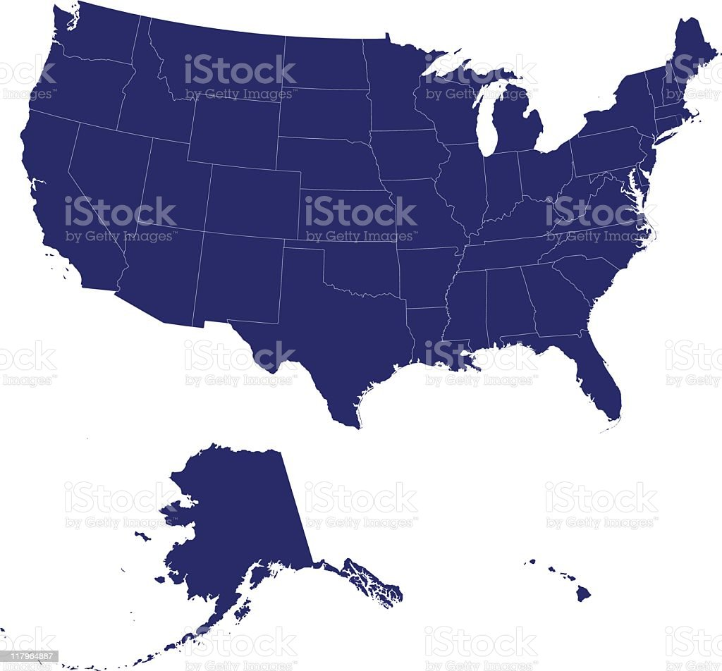 A map of the United States of America in blue royalty-free a map of the united states of america in blue stock vector art & more images of arizona